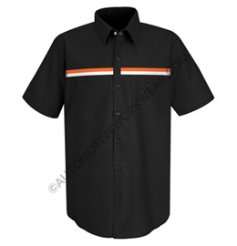Men's Short Sleeve Workshirt with Dual Chest Stripe