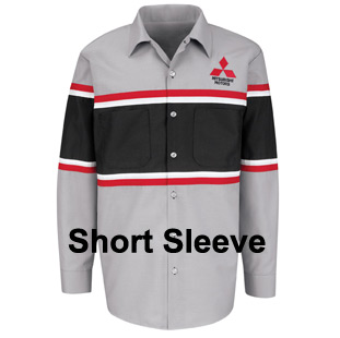 Mitsubishi Striped Technician Short Sleeve Shirt - Click for Large View