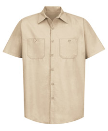 Men's Solid Color Short Sleeve Industrial Work Shirt