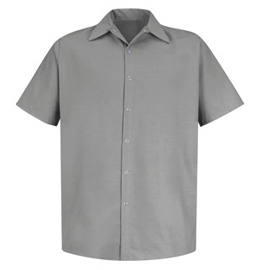 Red Kap Men's Snap Front Pocketless Short Sleeve Shirt (No Buttons)