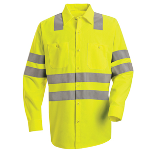 Hi-Visibility Long Sleeve Work Shirt - Class 3 Level 2 (X Striping Configuration) - Click for Large View