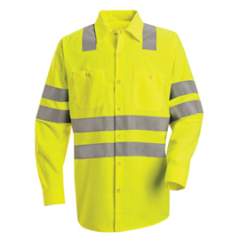 Hi-Visibility Long Sleeve Work Shirt - Class 3 Level 2 (X Striping Configuration)