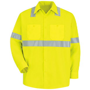 Red Kap Hi-Visibility Long Sleeve Work Shirt - Type R, Class 2 - Click for Large View