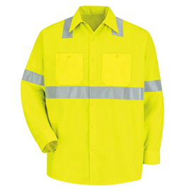 Red Kap Hi-Visibility Long Sleeve Work Shirt - Class 2 Level 2