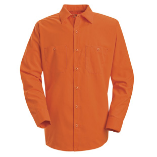 Red Kap Enhanced Visibility Orange Long Sleeve Shirt - Click for Large View