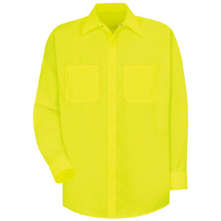 Red Kap Enhanced Visibility Yellow Green Long Sleeve Shirt - Click for Large View