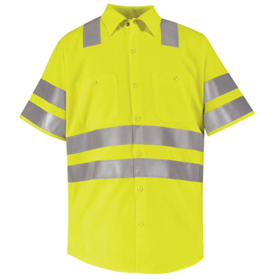 Red Kap Hi-Visibility Short Sleeve Work Shirt - Type R, Class 3 - Click for Large View