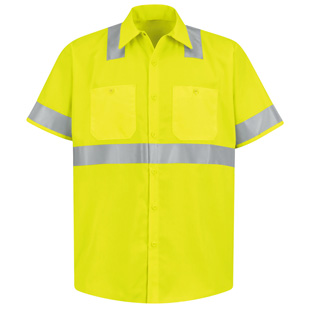 Red Kap Hi Visibility Short Sleeve Shirt - Class 2 Level 2 - Click for Large View