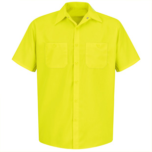 Red Kap Enhanced Visibility Yellow Green Short Sleeve Shirt - Click for Large View