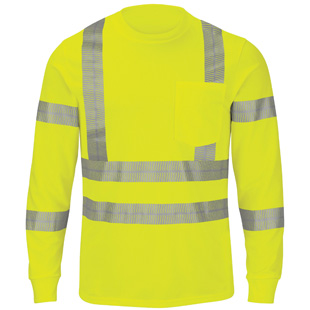 Red Kap Performance Hi-Visibility Long Sleeve Tee - Type R, Class 3 - Click for Large View