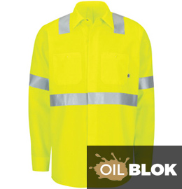 Red Kap Men's Hi-Vis Ripstop Long Sleeve Work Shirt with MIMIX + OilBlok, Type R, Class 2