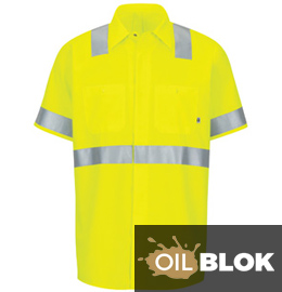 Red Kap Men's Hi-Vis Ripstop Short Sleeve Work Shirt with MIMIX + OilBlok, Type R, Class 2
