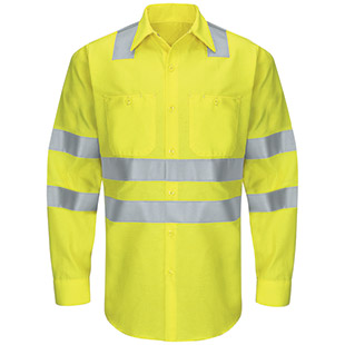 Red Kap Hi-Visibility Long Sleeve Ripstop Work Shirt - Type R, Class 3 - Click for Large View