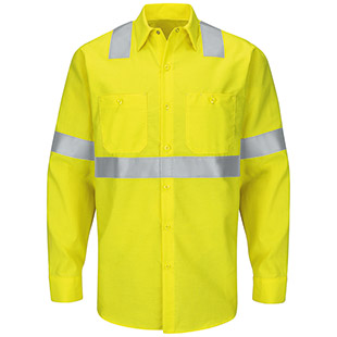 Red Kap Hi-Visibility Ripstop Long Sleeve Work Shirt - Type R Class 2 - Click for Large View