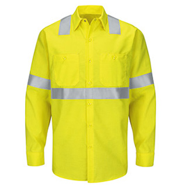 Red Kap Hi-Visibility Ripstop Long Sleeve Work Shirt - Type R Class 2
