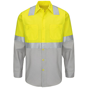 Red Kap Hi-Visibility Color Block Long Sleeve Work Shirt - Type R, Class 2 - Click for Large View