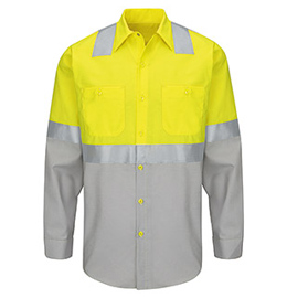 Red Kap Hi-Visibility Color Block Long Sleeve Work Shirt