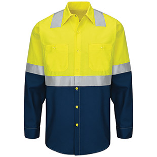 Red Kap Hi-Visibility Colorblock Ripstop Long Sleeve Work Shirt - Type R Class 2 - Click for Large View