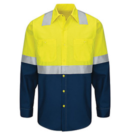 Red Kap Hi-Vis Colorblock Ripstop Long Sleeve Work Shirt - Type R Class 2