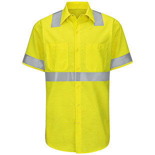 Red Kap Hi-Visibility Ripstop Short Sleeve Work Shirt - Type R Class 2 - Click for Large View