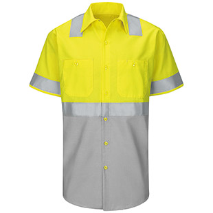 Red Kap Hi-Visibility Color Block Short Sleeve Work Shirt - Type R, Class 2 - Click for Large View
