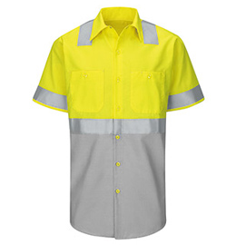 Red Kap Hi-Visibility Color Block Short Sleeve Work Shirt