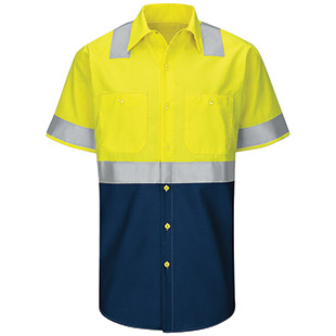 Red Kap Hi-Visibility Colorblock Ripstop Short Sleeve Work Shirt - Type R Class 2 - Click for Large View