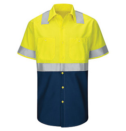 Red Kap Hi-Vis Colorblock Ripstop Short Sleeve Work Shirt - Type R Class 2