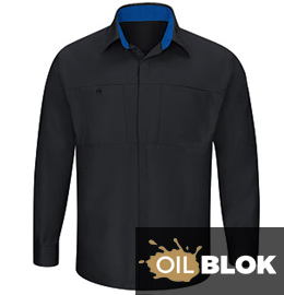 Red Kap Performance Plus Long Sleeve Shop Shirt with OilBlok Technology