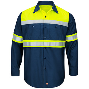 Red Kap Hi-Visibility Ripstop Color Long Sleeve Block Work Shirt - Type O, Class 1 - Click for Large View