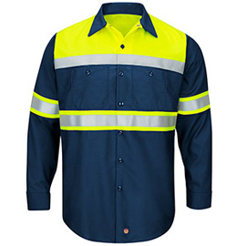 Red Kap Hi-Visibility Ripstop Color Long Sleeve Block Work Shirt - Type O, Class 1