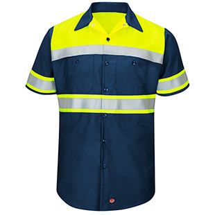 Red Kap Hi-Visibility Ripstop Color Block Short Sleeve Work Shirt - Type O, Class 1 - Click for Large View