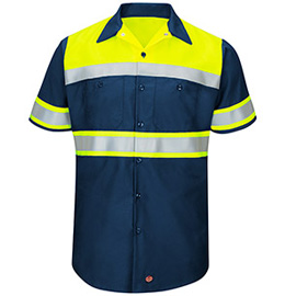 Red Kap Hi-Visibility Ripstop Color Block Short Sleeve Work Shirt - Type O, Class 1