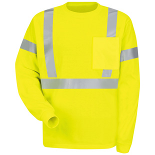 Red Kap High Visibility Long Sleeve T-Shirt  - Class 2 Level 2 - Click for Large View