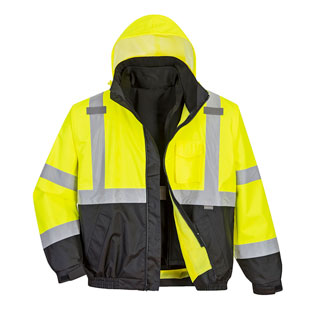Portwest Hi-Vis Premium 3-in-1 Bomber Jacket - Type R, Class 3 - Click for Large View
