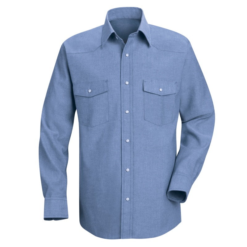 5ae14394a6 Red Kap Men s Western Style Long Sleeve Chambray Uniform Shirt. Enlarge