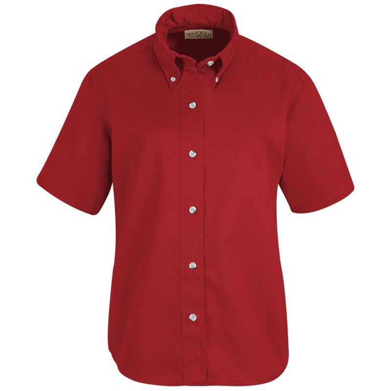 Red Kap Women S Button Down Poplin Short Sleeve Shirt Sp81